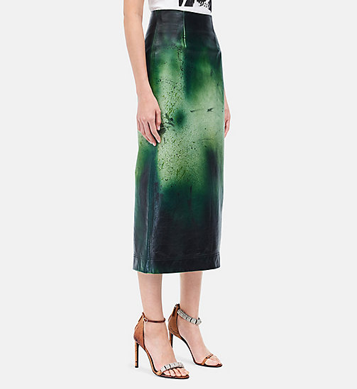 CALVINKLEIN Distressed Leather Pencil Skirt - PISTACHIO DARK PETROL - CALVIN KLEIN CLOTHES - main image