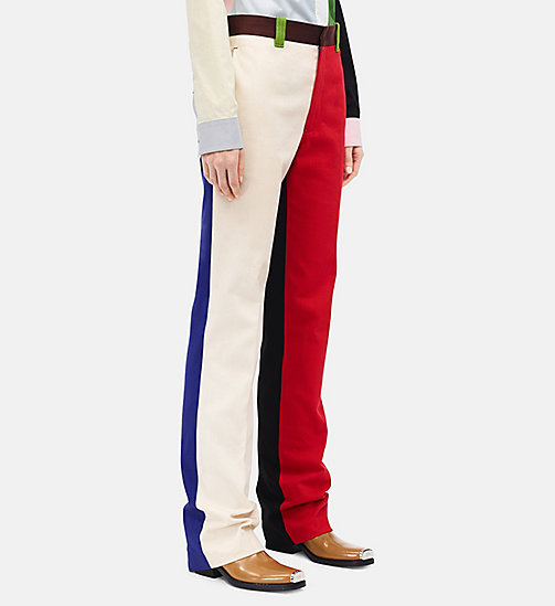 CALVINKLEIN Straight Colour Block Trousers - SCARLET ECRU - CALVIN KLEIN CLOTHES - detail image 1