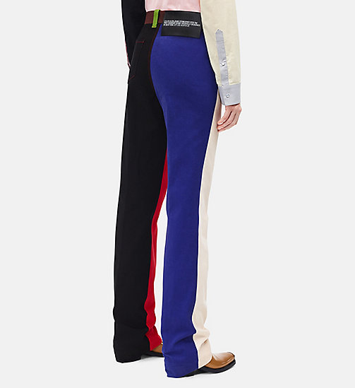 CALVIN KLEIN Straight Colour Block Trousers - SCARLET ECRU - CALVIN KLEIN WOMEN - detail image 1