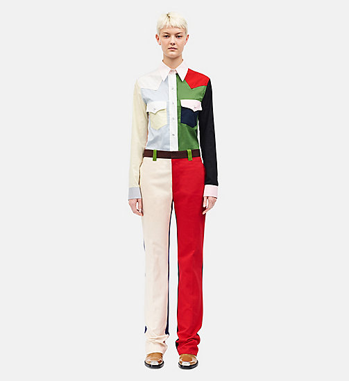 CALVIN KLEIN Straight Colour Block Trousers - SCARLET ECRU - CALVIN KLEIN WOMEN - main image