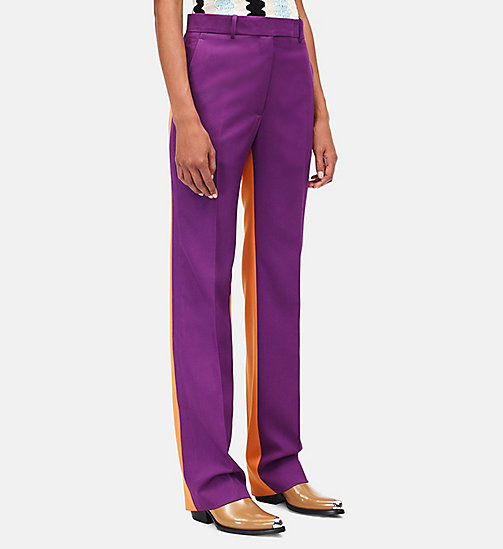 CALVINKLEIN Wool Gabardine Colour Block Trousers - ORCHID SUN ORANGE - CALVIN KLEIN CLOTHES - detail image 1