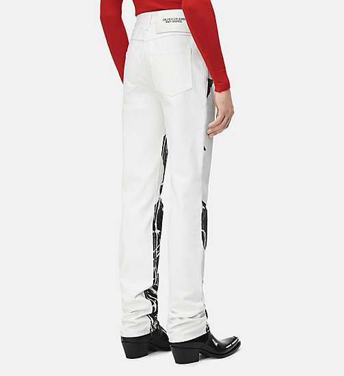 205W39NYC Flowers High Rise Straight Jeans - WHITE / BLACK - 205W39NYC CLOTHES - detail image 1