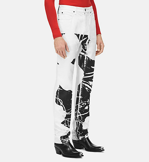 205W39NYC Flowers High Rise Straight Jeans - WHITE / BLACK - 205W39NYC CLOTHES - main image