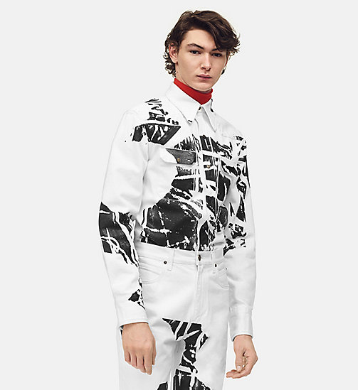 205W39NYC Flowers Archive Western Shirt - WHITE BLACK - 205W39NYC CLOTHES - main image