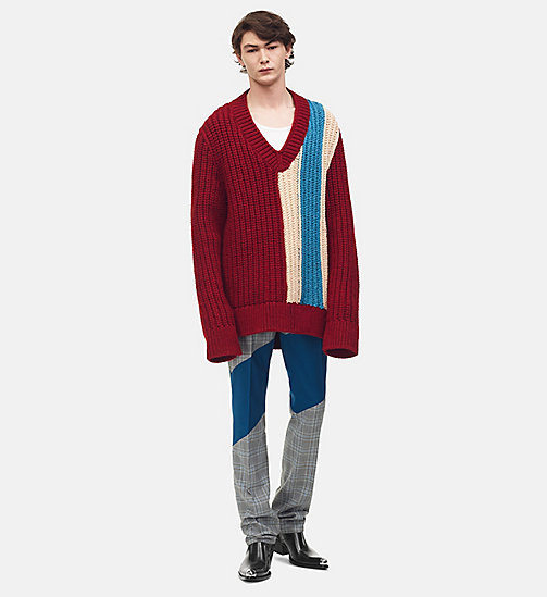 205W39NYC Striped Knit V-Neck Pullover - BURGUNDY IVORY PEACOCK - 205W39NYC CLOTHES - main image