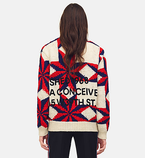 205W39NYC Embroidered Quilted Jumper - IVORY RED ROYAL BLUE - 205W39NYC CLOTHES - detail image 1