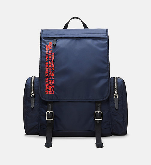 205W39NYC Embroidered Flap Backpack - DARK NAVY RED - 205W39NYC SHOES & ACCESSORIES - main image