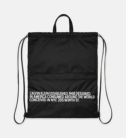 205W39NYC Embroidered Drawstring Backpack - BLACK/WHITE - 205W39NYC SHOES & ACCESSORIES - detail image 1