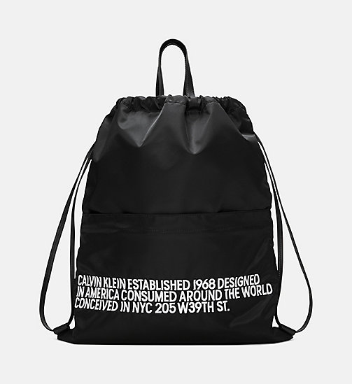 205W39NYC Embroidered Drawstring Backpack - BLACK / WHITE - 205W39NYC SHOES & ACCESSORIES - main image
