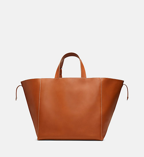 205W39NYC Oversized Leather Tote with Pendleton Lining - COGNAC - 205W39NYC SHOES & ACCESSORIES - detail image 1