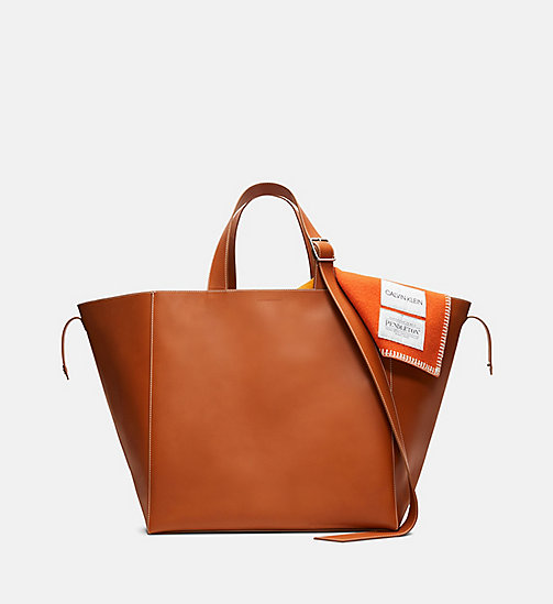 205W39NYC Oversized Leather Tote with Pendleton Lining - COGNAC - 205W39NYC SHOES & ACCESSORIES - main image