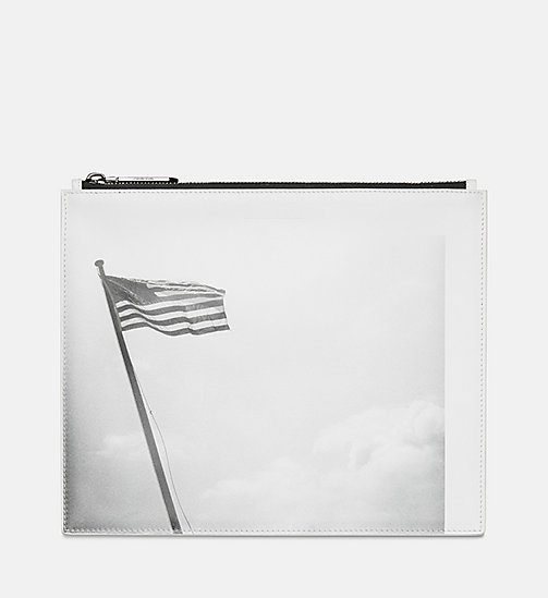 205W39NYC American Flag Medium Leather Pouch - WHITE BLACK - 205W39NYC SHOES & ACCESSORIES - main image