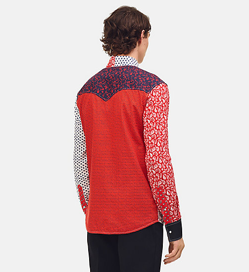 205W39NYC Patchwork Calico Shirt - WHITE/BLUE/RED - 205W39NYC CLOTHES - detail image 1