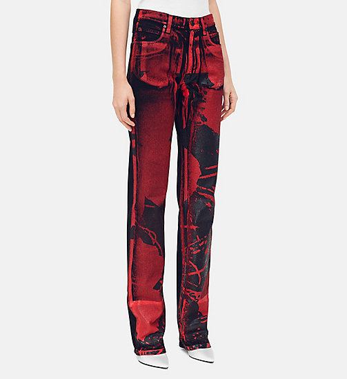 205W39NYC Flowers High Rise Straight Jeans - BLACK RED - 205W39NYC CLOTHES - main image