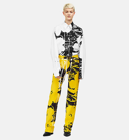 205W39NYC Flowers High Rise Straight Jeans - WHITE YELLOW BLACK - 205W39NYC CLOTHES - main image