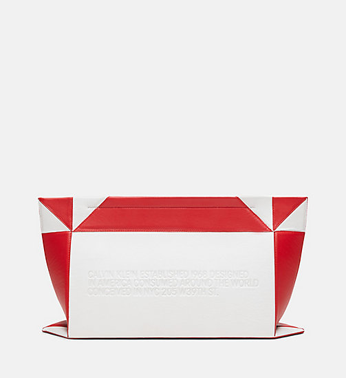 205W39NYC Oversized Quilted Clutch in Nappa Leather - WHITE/RED - 205W39NYC SHOES & ACCESSORIES - detail image 1