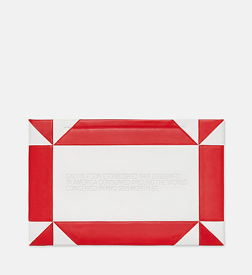205W39NYC Oversized Quilted Clutch in Nappa Leather - WHITE/RED - 205W39NYC SHOES & ACCESSORIES - main image