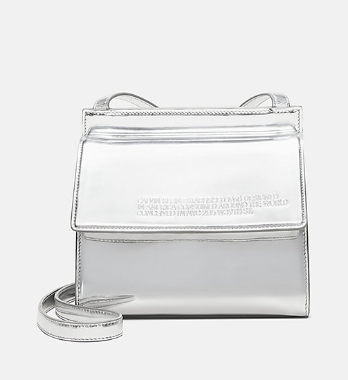 205W39NYC Embossed Flap Crossbody in Calf Leather - SILVER - 205W39NYC SHOES & ACCESSORIES - main image