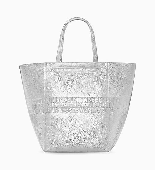 205W39NYC Metallic Geometric Tote Bag - SILVER - 205W39NYC SHOES & ACCESSORIES - detail image 1