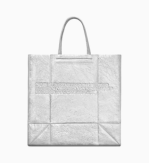 205W39NYC Metallic Geometric Tote Bag - SILVER - 205W39NYC SHOES & ACCESSORIES - main image