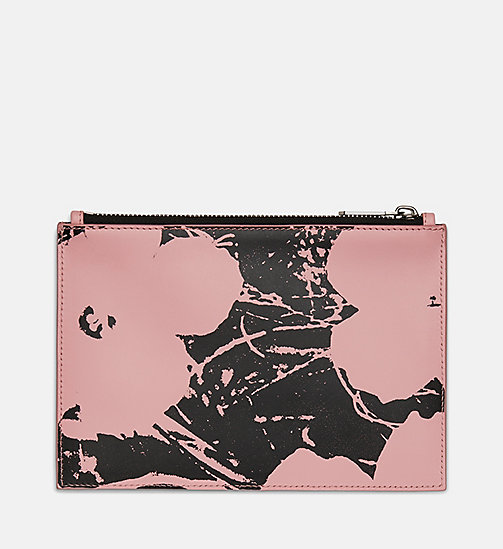 205W39NYC Flowers Small Pouch in Calf Leather - PINK / BLACK - 205W39NYC SHOES & ACCESSORIES - detail image 1
