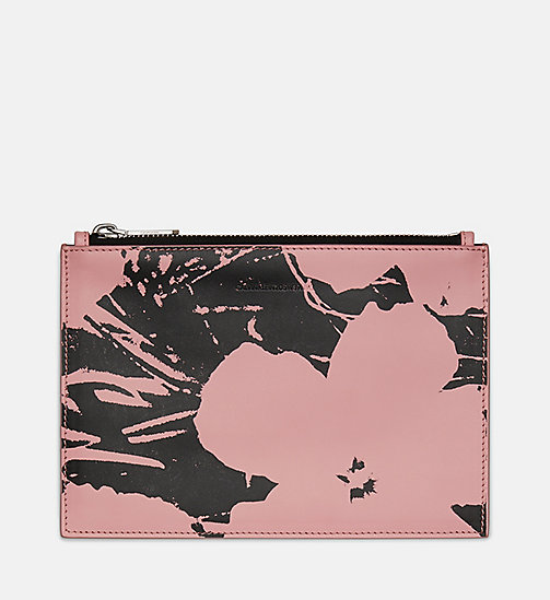 205W39NYC Flowers Small Pouch in Calf Leather - PINK / BLACK - 205W39NYC SHOES & ACCESSORIES - main image