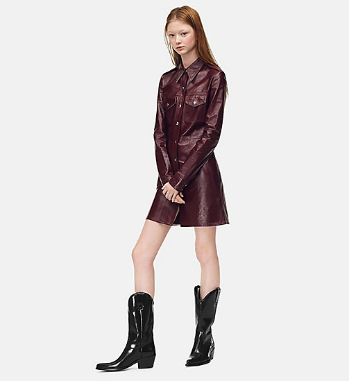205W39NYC Leather Uniform Shirt Dress - MULBERRY - 205W39NYC CLOTHES - main image