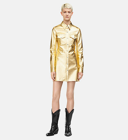 205W39NYC Leather Uniform Shirt Dress - GOLD - 205W39NYC CLOTHES - main image