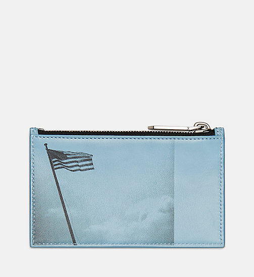 205W39NYC American Flag Zip Card Case in Calf Leather - ICEBERG BLUE - 205W39NYC SHOES & ACCESSORIES - main image
