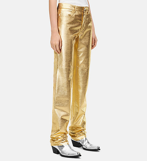 205W39NYC Leather High Rise Straight Jeans in Gold - GOLD - 205W39NYC CLOTHES - main image