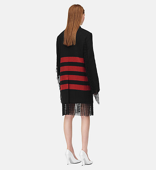 205W39NYC Fringed Blanket Coat - BLACK RED - 205W39NYC CLOTHES - detail image 1