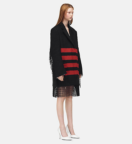 205W39NYC Fringed Blanket Coat - BLACK RED - 205W39NYC CLOTHES - main image