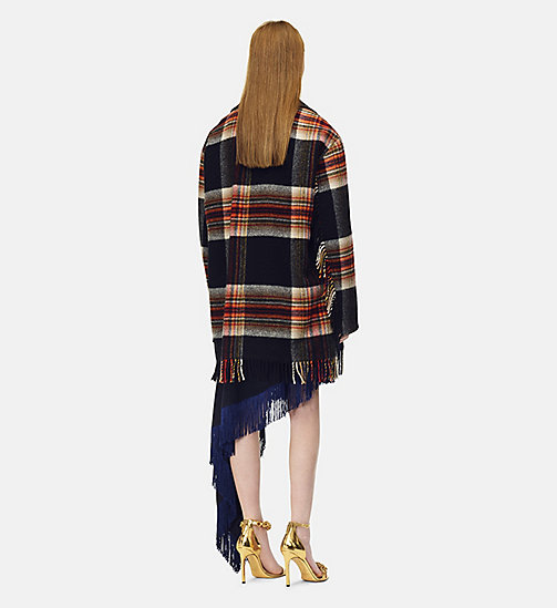 205W39NYC Fringed Caban in Pendleton Plaid Wool - RED YELLOW BLUE BLACK - 205W39NYC CLOTHES - detail image 1