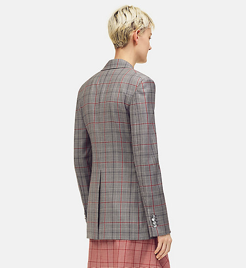 205W39NYC Wall Street Blazer in Check Wool - BLACK WHITE GRENADINE - 205W39NYC CLOTHES - detail image 1