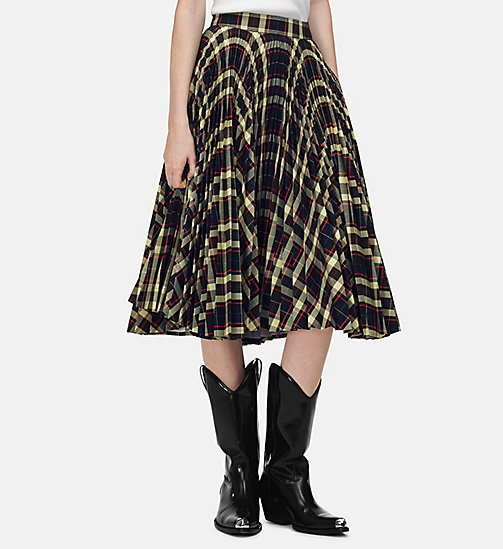205W39NYC Pleated Circle Skirt in Multicolour Check - BROWN LEMONGRASS ORANGE RED NAVY - 205W39NYC CLOTHES - main image