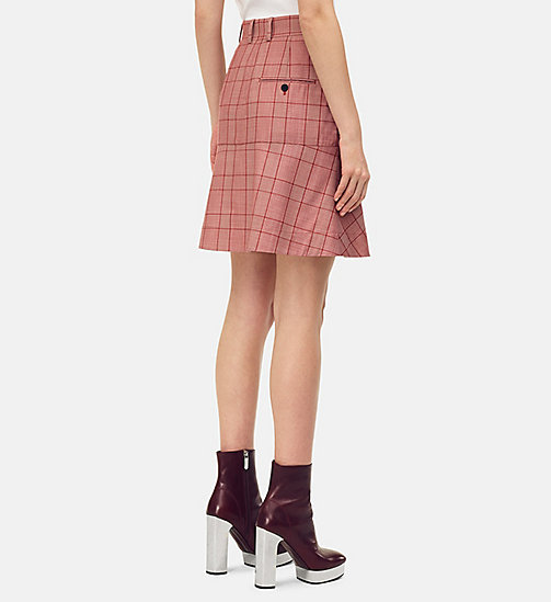 205W39NYC Tailored Flared Mini Skirt in Check Wool - BARN RED ECRU - 205W39NYC CLOTHES - detail image 1