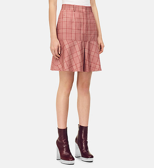 205W39NYC Tailored Flared Mini Skirt in Check Wool - BARN RED ECRU - 205W39NYC CLOTHES - main image