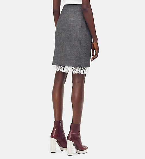 205W39NYC Tailored Mini Skirt in Check Wool - DARK GREY GRENADINE - 205W39NYC CLOTHES - detail image 1
