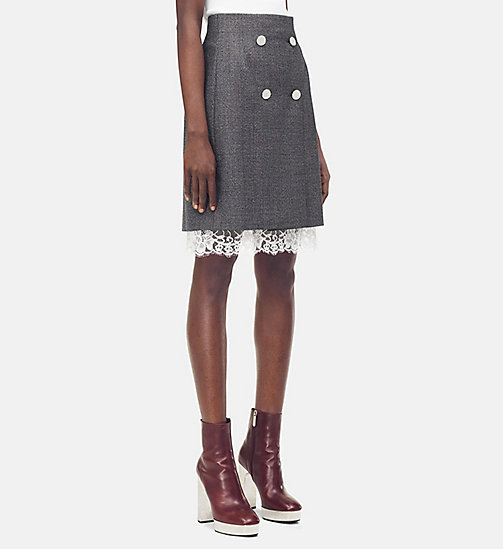205W39NYC Tailored Mini Skirt in Check Wool - DARK GREY GRENADINE - 205W39NYC CLOTHES - main image