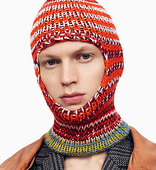 205W39NYC Balaclava met averecht gebreide strepen - ORANGE RED OFF WHITE BURGUNDY ROYAL BLUE - 205W39NYC KLEDING - detail image 1