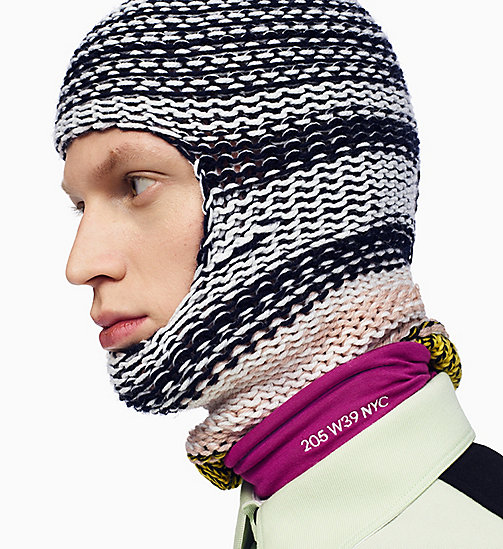 205W39NYC Reverse Striped Knit Balaclava - NAVY AGAVE ROSE OFF WHITE - 205W39NYC SHOES & ACCESSORIES - main image
