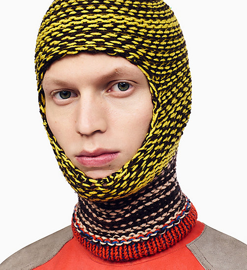 205W39NYC Reverse Striped Knit Balaclava - YELLOW MARRON GLACE ANTIQUE ROSE ORANGE - 205W39NYC SHOES & ACCESSORIES - detail image 1