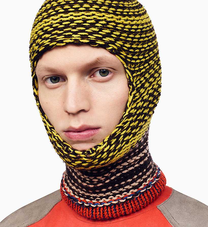 205W39NYC Reverse Striped Knit Balaclava - NAVY AGAVE ROSE OFF WHITE - 205W39NYC MEN - detail image 1