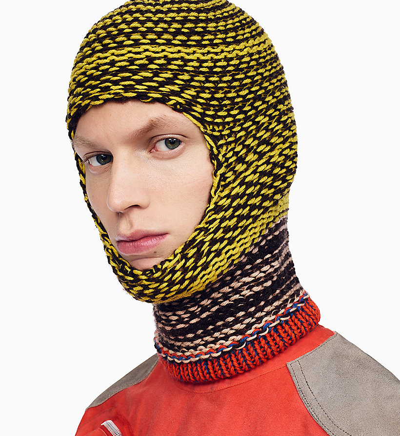 205W39NYC Reverse Striped Knit Balaclava - NAVY AGAVE ROSE OFF WHITE - 205W39NYC MEN - main image