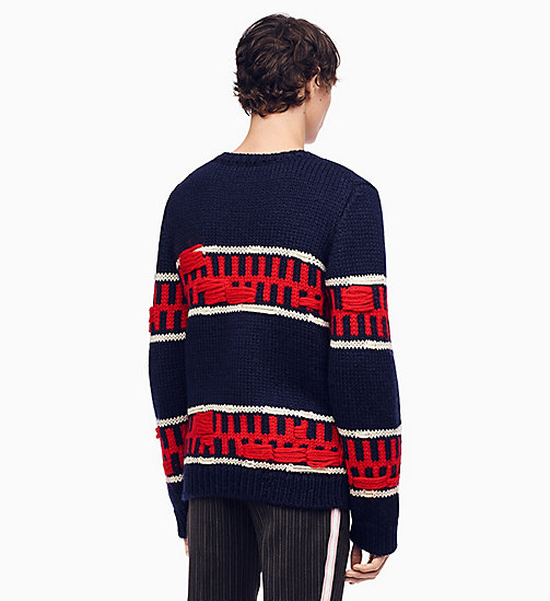 205W39NYC Graphic Stripe Intarsia Knit Jumper - MIDNIGHT ECRU RED - 205W39NYC CLOTHES - detail image 1