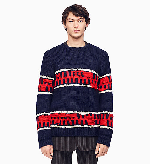 205W39NYC Graphic Stripe Intarsia Knit Jumper - MIDNIGHT ECRU RED - 205W39NYC CLOTHES - main image