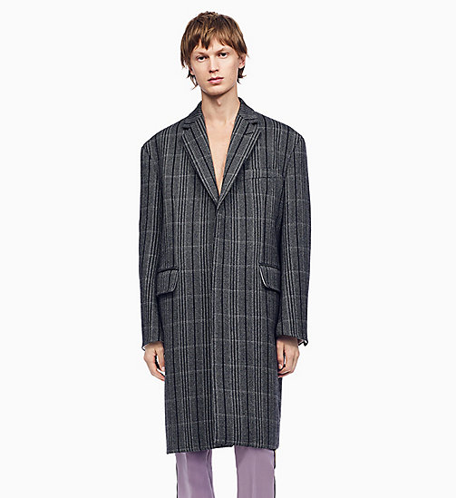 205W39NYC Oversized Single-Breasted Boxy Coat - LIGHT GREY BLACK - 205W39NYC CLOTHES - main image