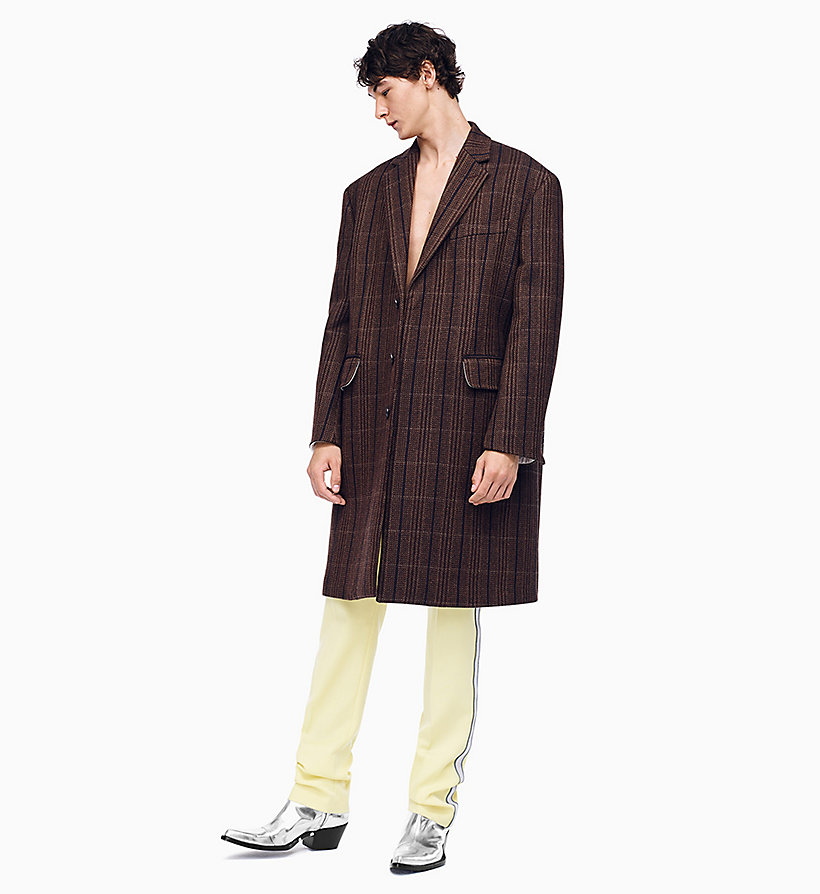 205W39NYC Oversized Single-Breasted Boxy Coat - CHAMOIS DARK BROWN - 205W39NYC MEN - main image