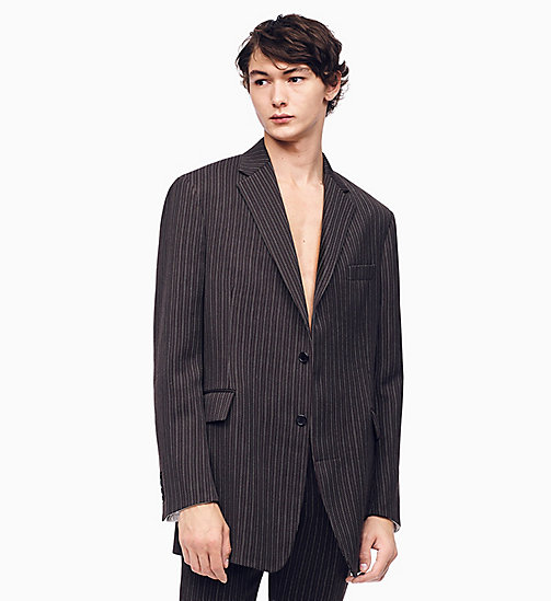 205W39NYC Oversized Single-Breasted Boxy Blazer - DARK BROWN GREY - 205W39NYC CLOTHES - main image