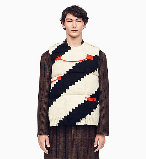 205W39NYC Stripe Intarsia Knit Down Padded Jumper - ECRU BLACK COQUELICOT BROWN - 205W39NYC CLOTHES - main image
